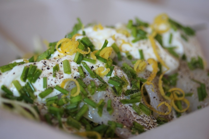 Filet de merlan courgettes citron en papillote